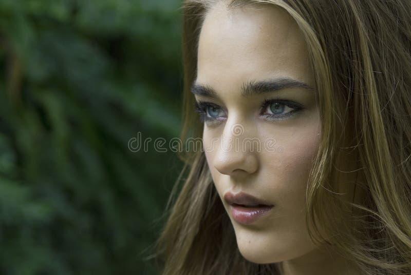 Profil latéral du visage d'un femme photos stock