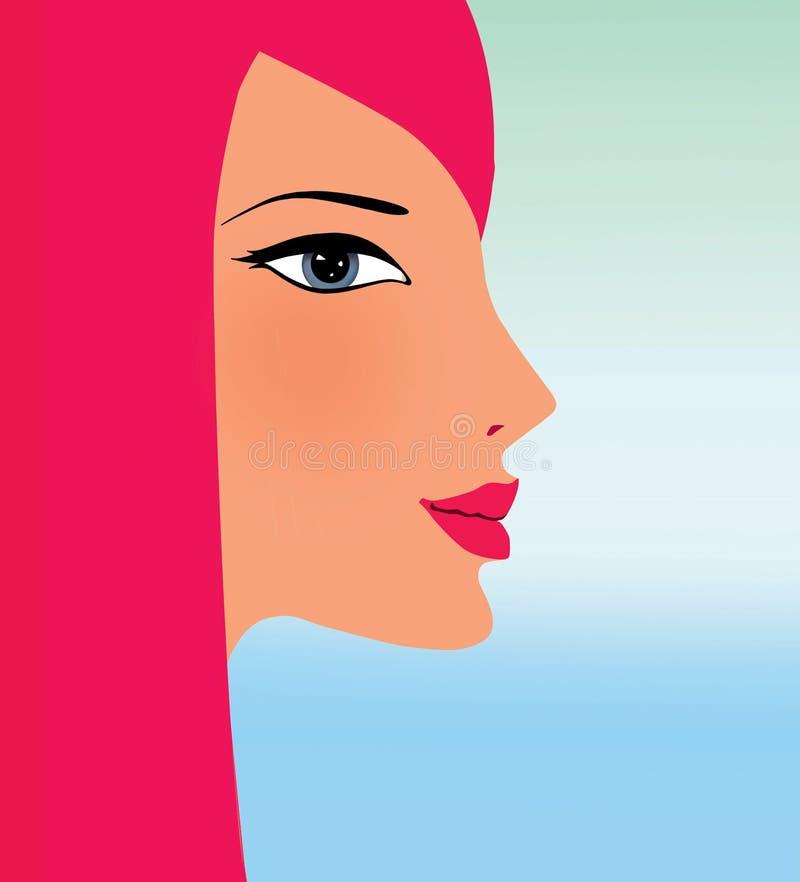 Profil młoda dziewczyna z czerwonym włosy przeciw gradientowemu niebu ilustracji