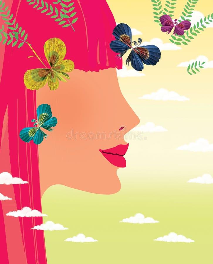 Profil młoda dziewczyna z czerwonymi włosianymi i papierowymi motylami przeciw gradientowemu niebu z cumulus chmurami ilustracja wektor