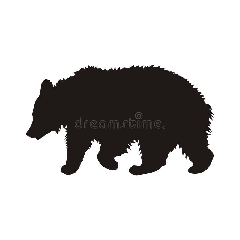 Profil noir d'un jeune ours de marche avec les cheveux hirsute illustration de vecteur