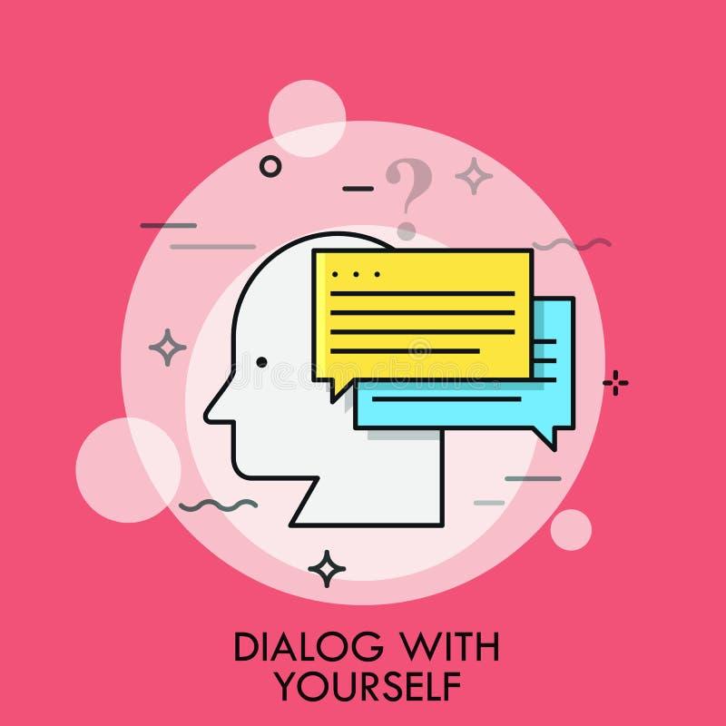 Profil- och anförandebubblor för mänskligt huvud Begrepp av dialogen med dig, inre eller inre diskurs, tänkande saker ut royaltyfri illustrationer