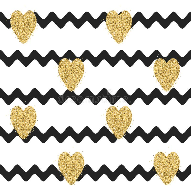Profil onduleux sans couture avec les coeurs d'or de scintillement images libres de droits