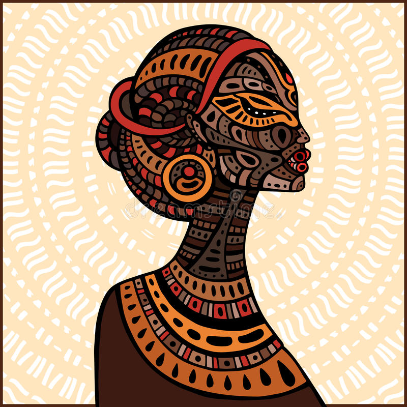 Profil piękna Afrykańska kobieta ilustracji
