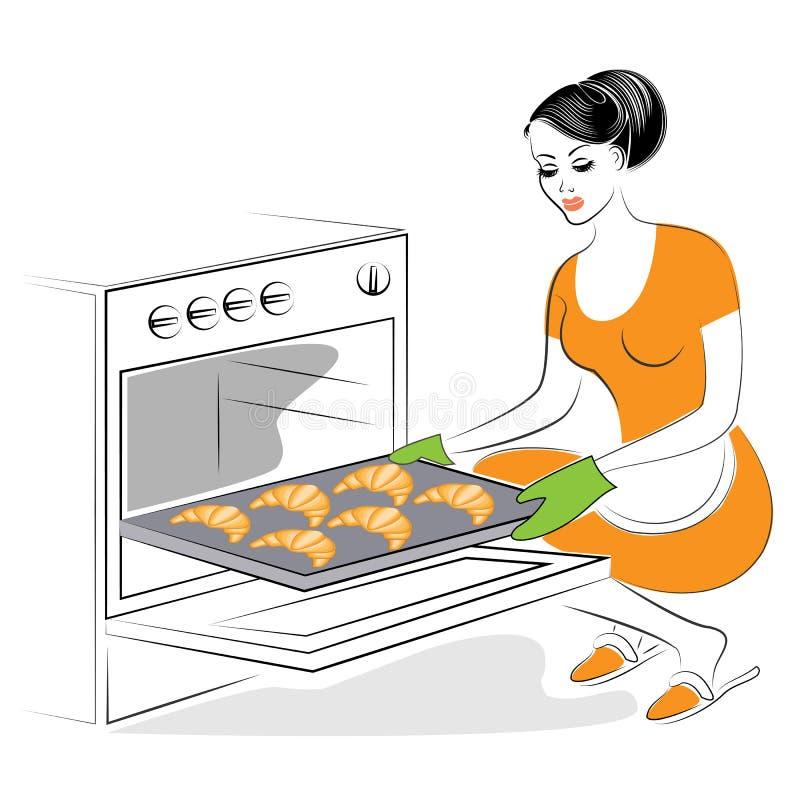 Profil pi?kna dama Dziewczyna przygotowywa jedzenie Piec w piekarników świątecznych ciastkach, Francuscy croissants Kobieta jest  ilustracja wektor