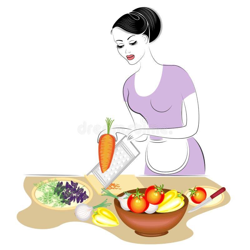 Profil pi?kna dama Dziewczyna przygotowywa jedzenie Ustawia stół, naciera marchewki na talerzu, ciie warzywa, zielenie A ilustracja wektor