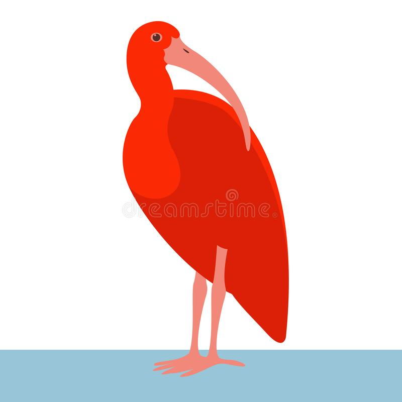 Profil plat de style d'illustration de vecteur d'oiseau d'IBIS illustration de vecteur