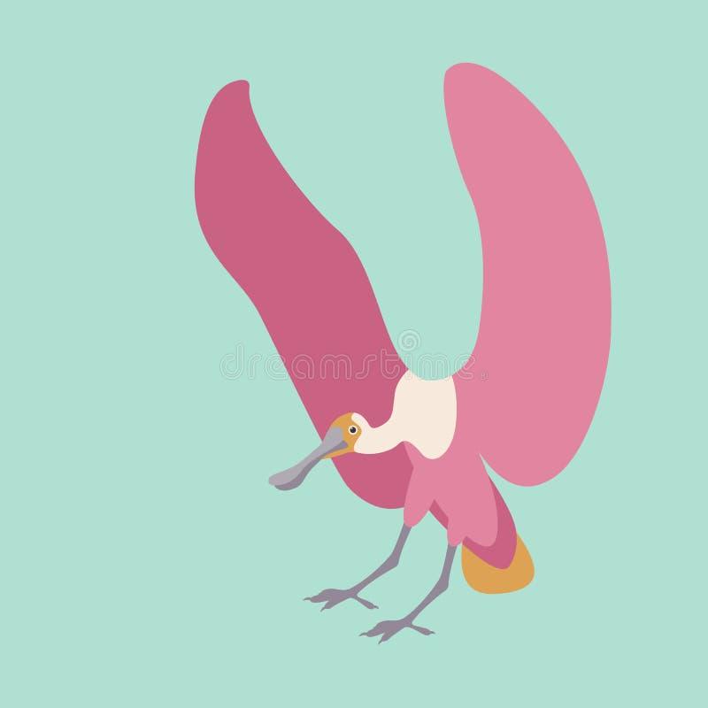 Profil plat de style d'illustration de vecteur de spatule rose illustration libre de droits