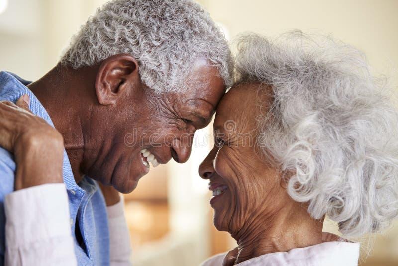 Profil-Schuss, der zu Hause die älteren Paare Kopf-an-Kopf- zusammen liebt lizenzfreie stockfotografie