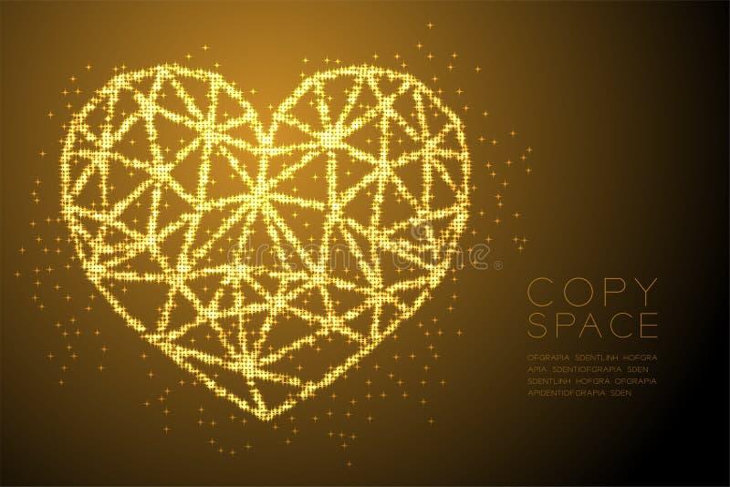 Profil sous convention astérisque brillant de lumière de Bokeh d'abrégé sur icône de coeur, illustration de couleur d'or de conce illustration libre de droits