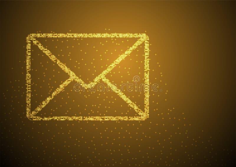 Profil sous convention astérisque de Bokeh de particules de forme de symbole d'email, vous avez obtenu l'illustration de couleur  illustration stock