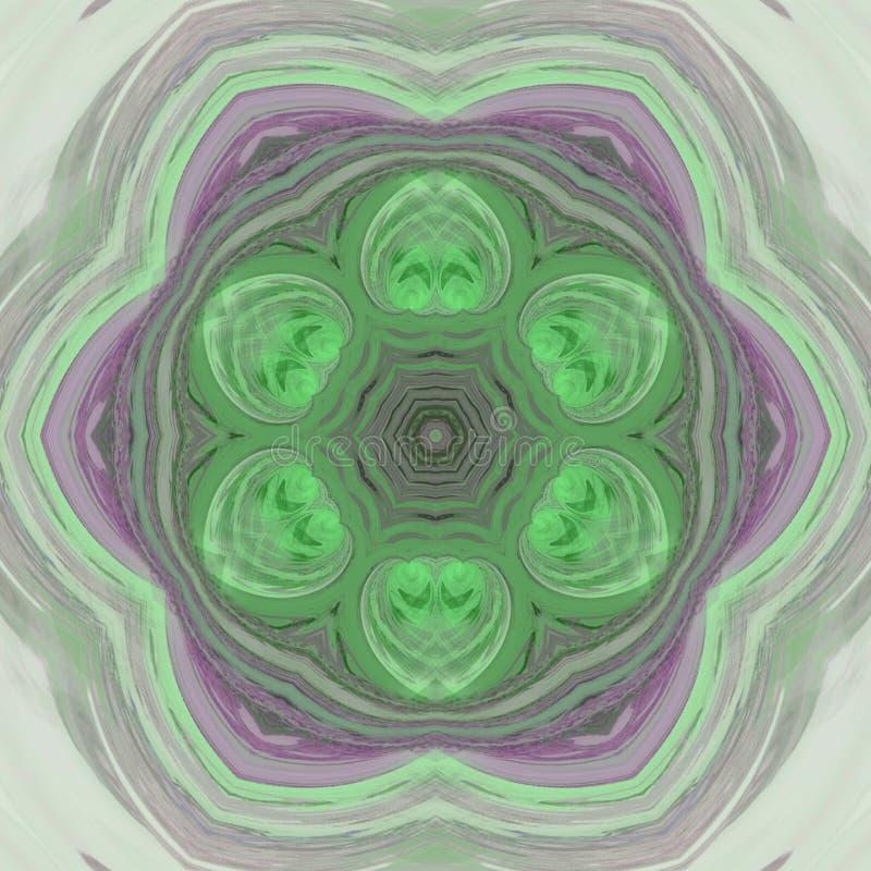 Profil sous convention astérisque pointu, mandala kaléïdoscopique vert de pétale illustration libre de droits