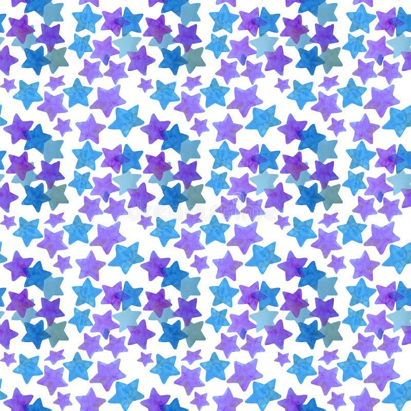 Profil sous convention astérisque sans couture d'aquarelle, dans le rose et les tons bleus illustration stock