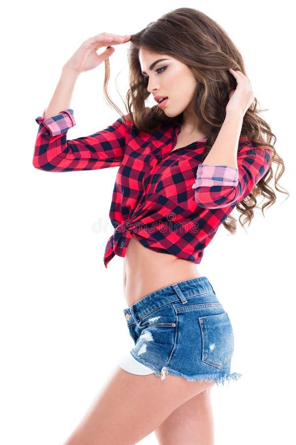 Profil uwodzicielscy zrelaksowani młoda kobieta skróty obraz stock