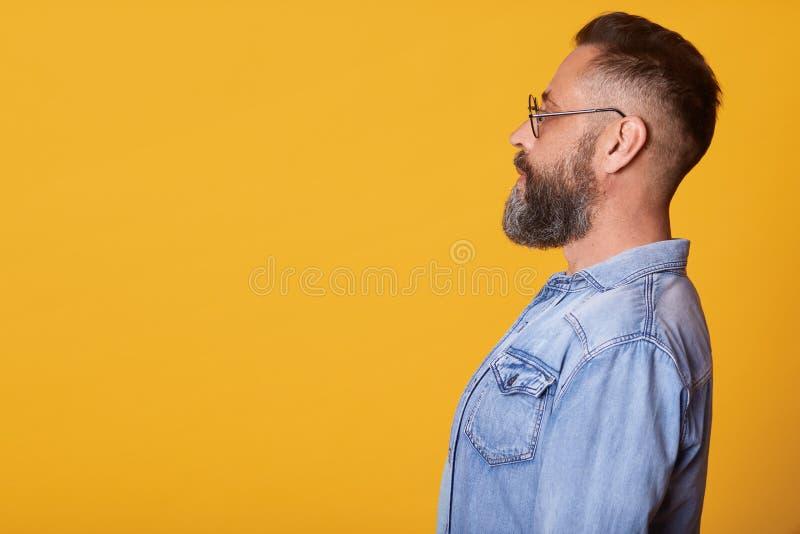 Profil w średnim wieku ogołacający atrakcyjny mężczyzna jest ubranym drelichową kurtkę, szkła pozuje nad żółtym pracownianym tłem zdjęcie stock