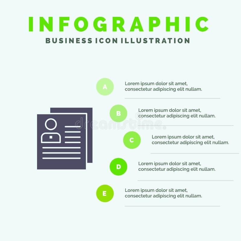 Profil, Wokoło, kontakt, deleatur, kartoteka, Osobisty Stały ikony Infographics 5 kroków prezentacji tło ilustracja wektor