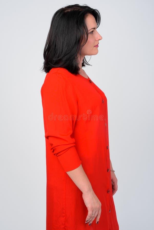 Profilansicht der Schönheit rotes Kleid tragend lizenzfreie stockbilder