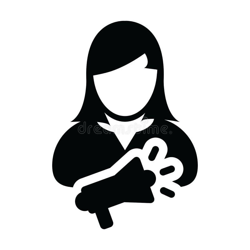 Profilavatarasymbol der weiblichen Person des Sprecher-Ikonenvektors mit Megaphon für das öffentliche Sprechen im Glyph lizenzfreie abbildung