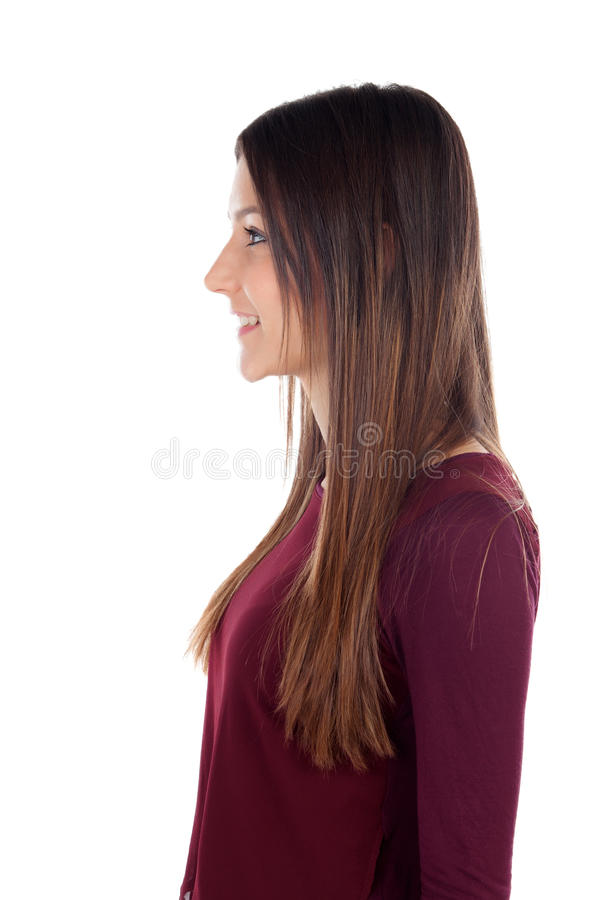 Profile of attractive girl looking at side royalty free stock photo