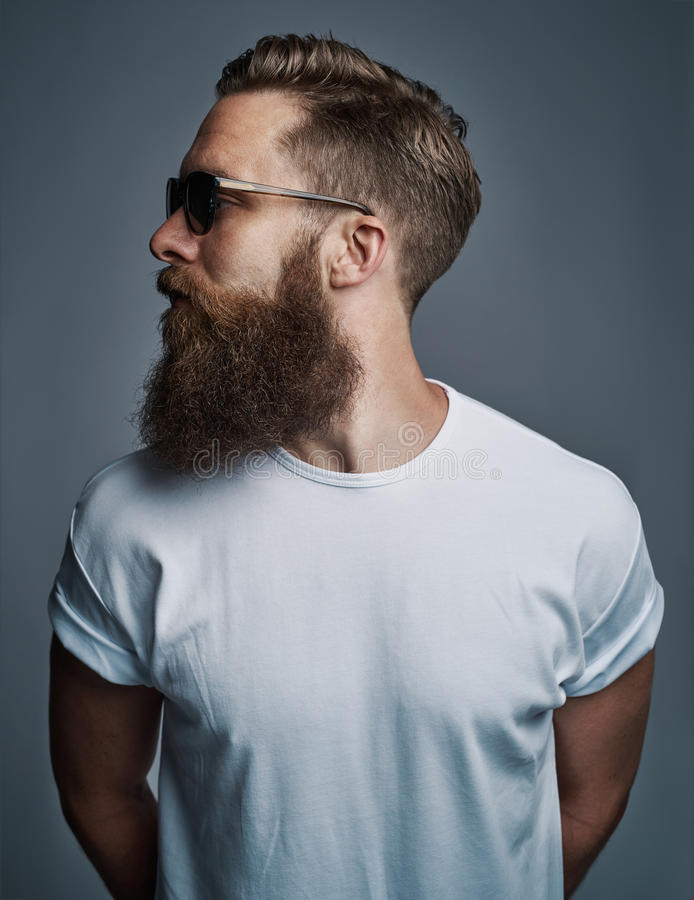 Profile of bearded handsome man with sunglasses royalty free stock photography