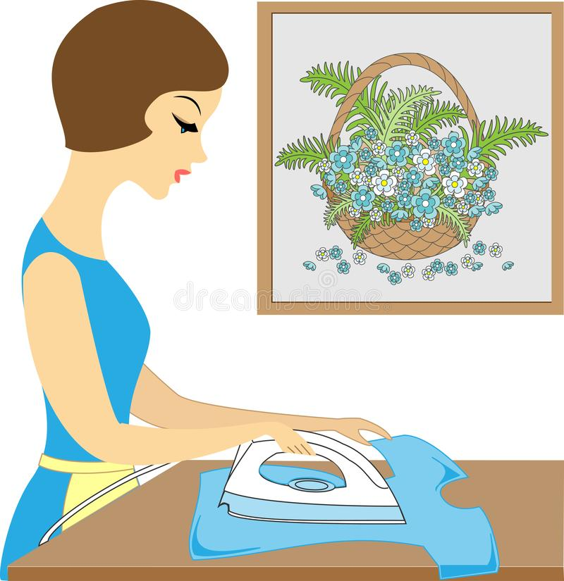 Profile of a beautiful lady. Cute girl ironing clothes. She is a caring hostess. Vector illustration royalty free illustration