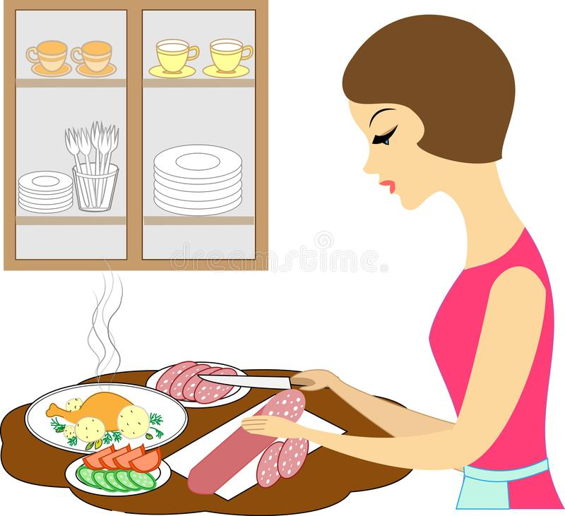 Profile of a beautiful lady. The girl is preparing a delicious meal. The hostess cuts the products: sausage, tomatoes, cucumbers. stock illustration