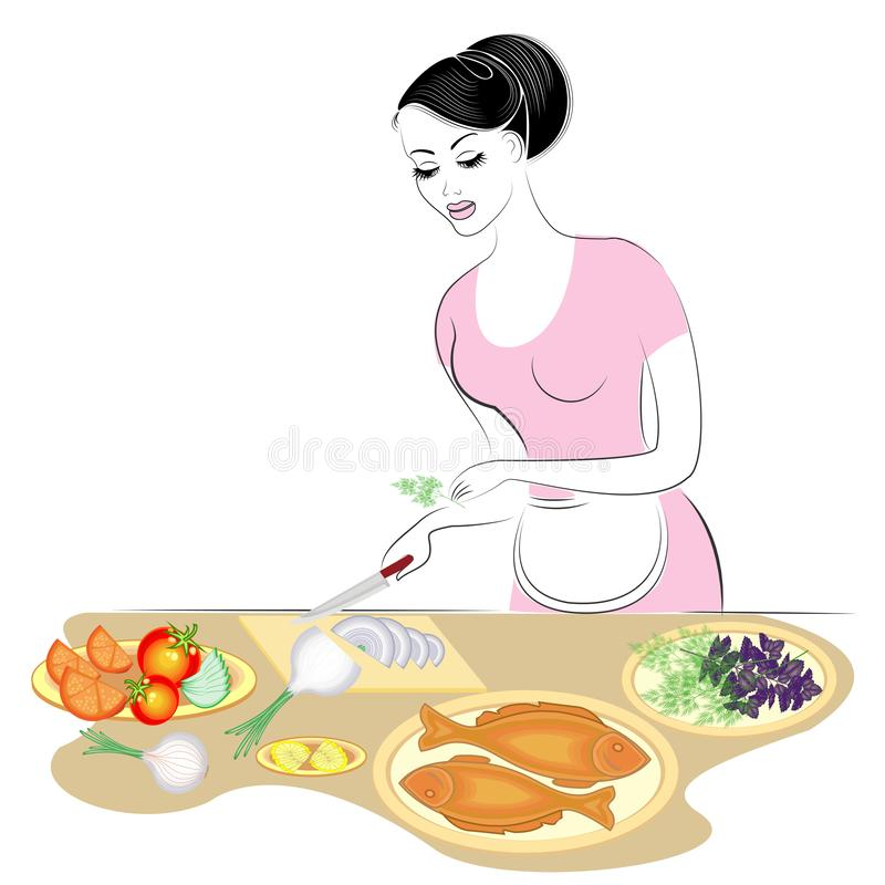 Profile of a beautiful lady. The girl is preparing food. She covers the table, cuts onions, vegetables, cooks fish. A woman is a vector illustration