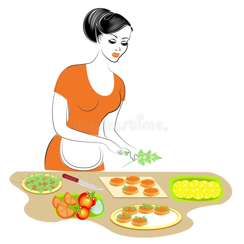 Profile of a beautiful lady. The girl is preparing food. She sets the table of fruit. It cuts apples, lemon, orange, banana, royalty free illustration