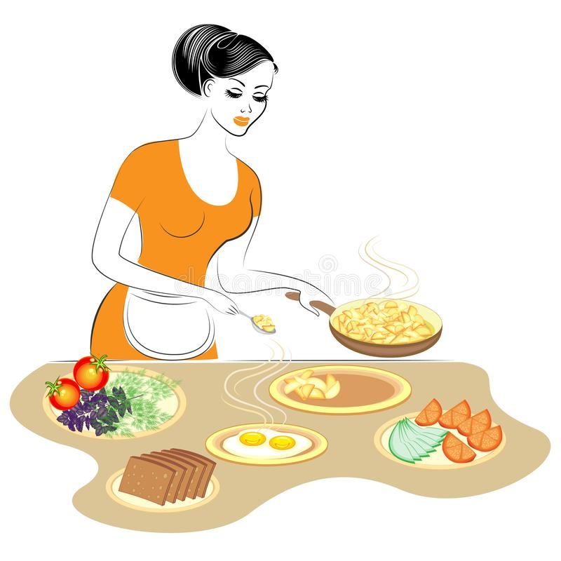 Profile of a beautiful lady. The girl is preparing food. She sets the table, pours fried potatoes, eggs, vegetables. A woman is a royalty free illustration