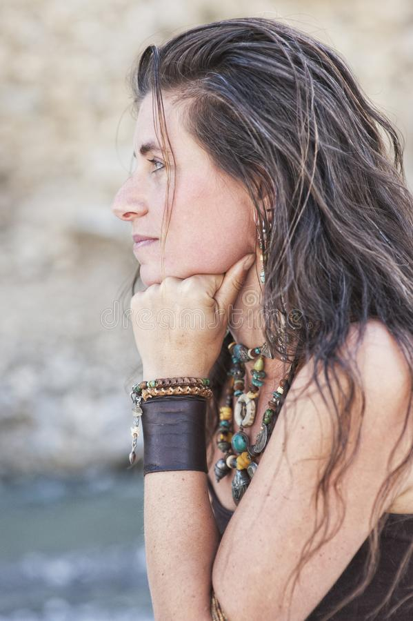 Sacred Woman Portrait By The Wild River royalty free stock photography
