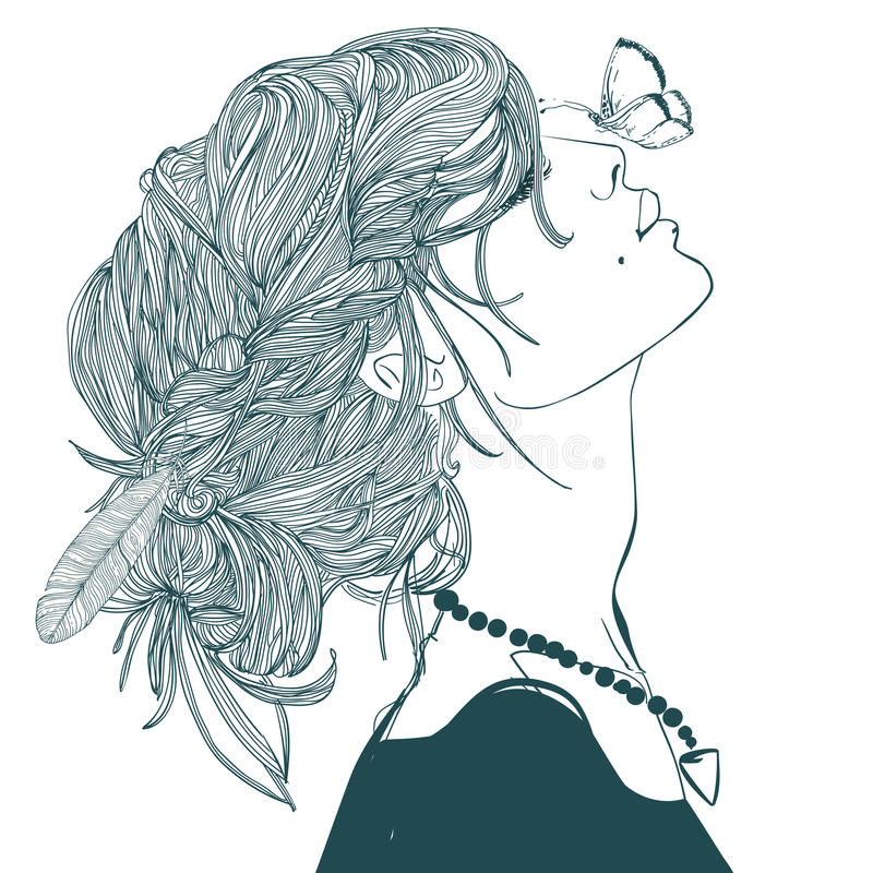 Profile of beautiful woman with butterfly royalty free illustration