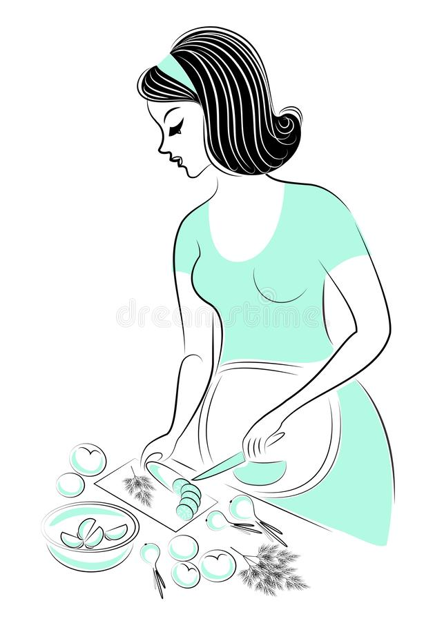 Profile of a beautiful woman. The lady is pregnant. The girl prepares a healthy vitamin food. Cucumbers, tomatoes, onions. Vector royalty free illustration