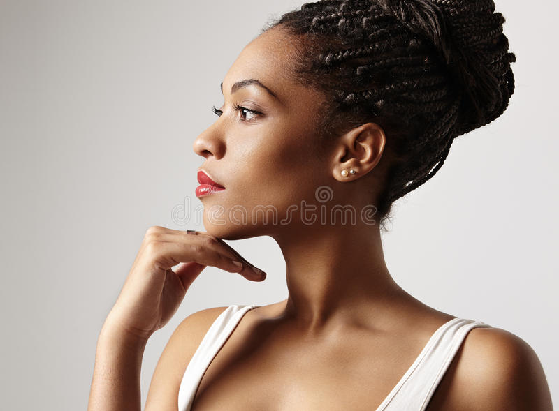 Profile of a beauty black woman stock images