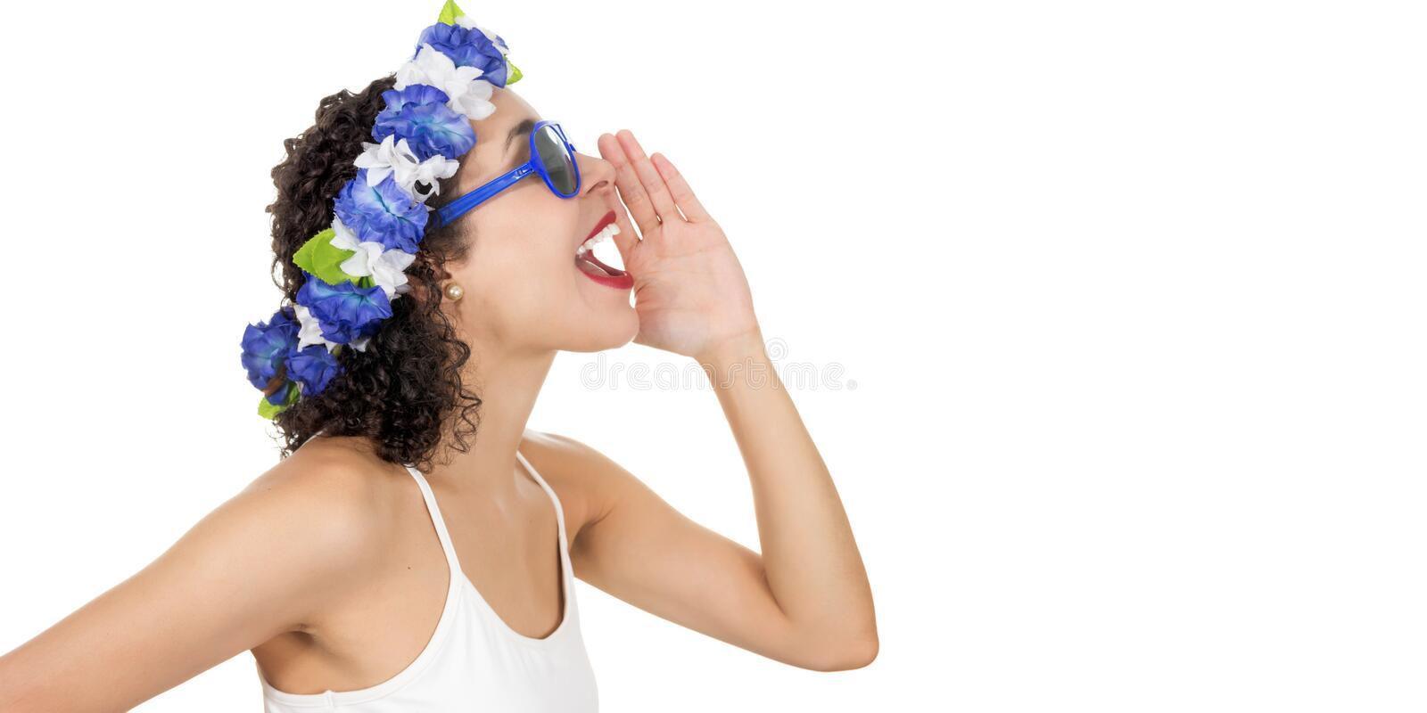 Profile of a black woman calling someone. She wears a wreath. Sh royalty free stock photos