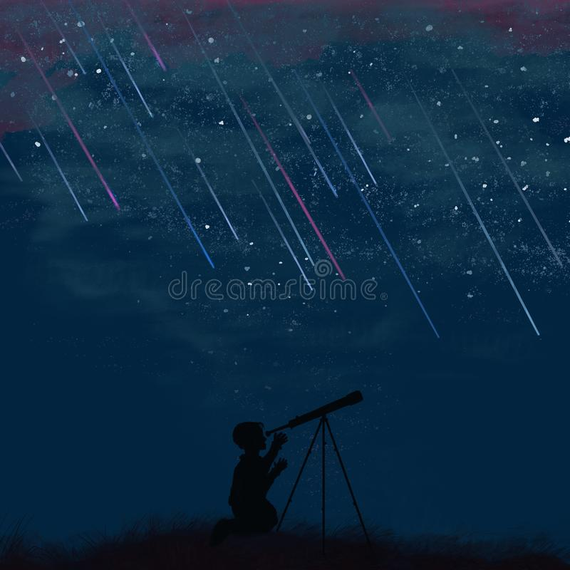 Profile of a boy looking at a telescope at night stock photo