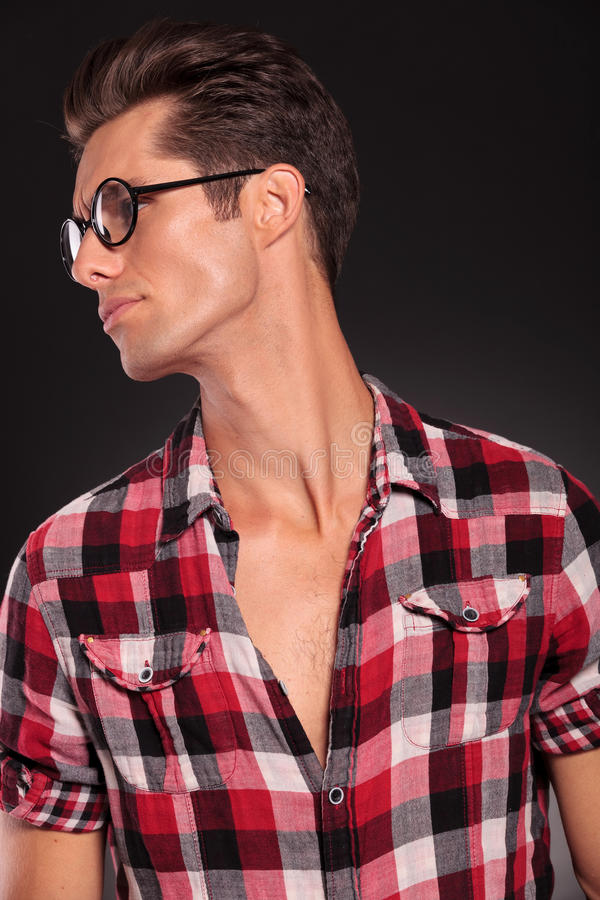 Download Profile Of A Casual Young Man Wearing Glasses Stock Image - Image: 27695051