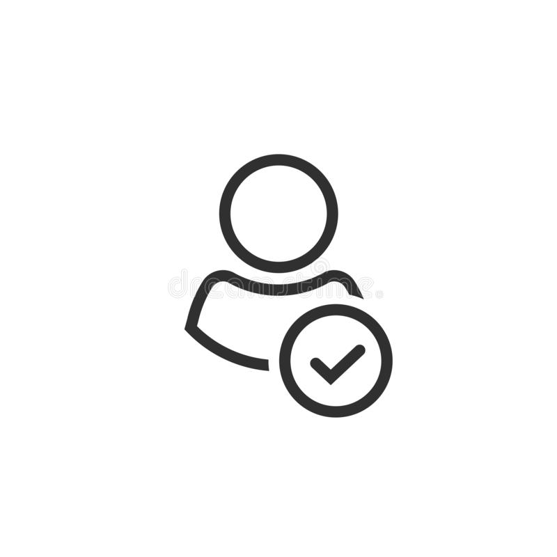 Profile with checkmark icon vector, line outline art user account accepted symbol with tick, approved or applied person. Sign, validation verified pictogram vector illustration
