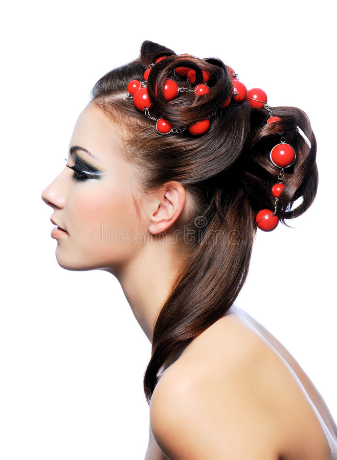 Profile of creativity hairstyle and fashion make-u stock images