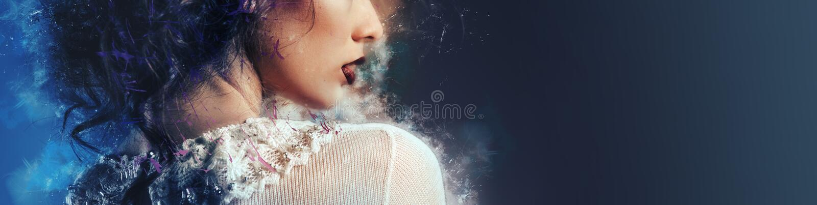 Profile cropped image part of gorgeous young woman face bright make-up lipstick image with digital art effects, horizontal image royalty free stock photos