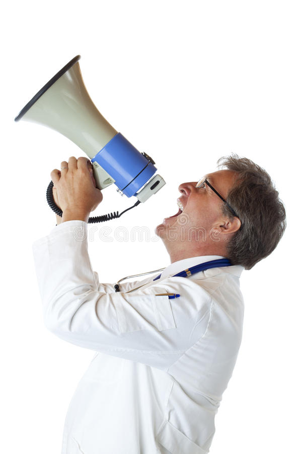 Download Profile Of Doctor Screaming Loudly In Megaphone Stock Photo - Image: 19746386