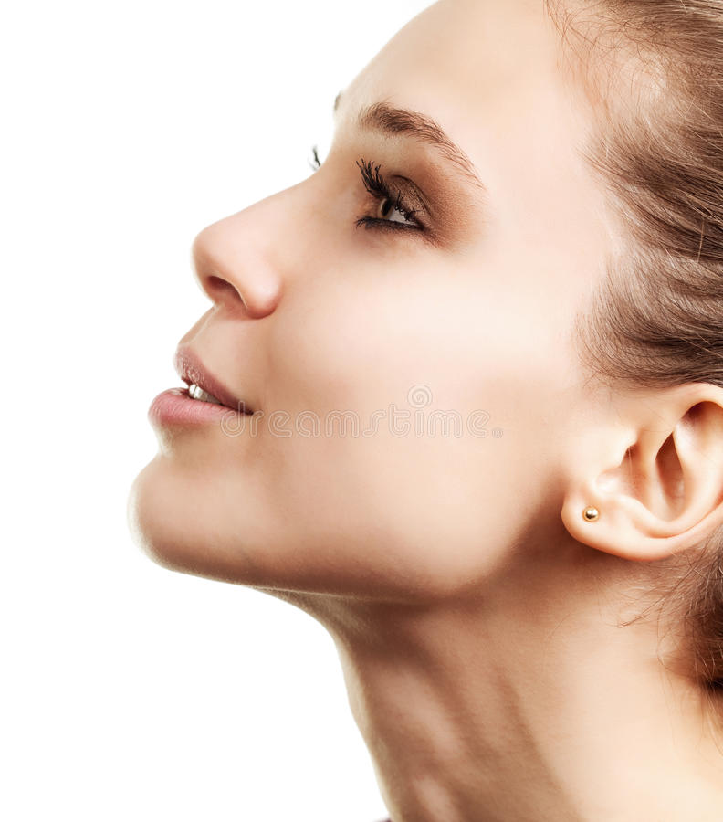 Profile face of beautiful woman with clean skin royalty free stock photo