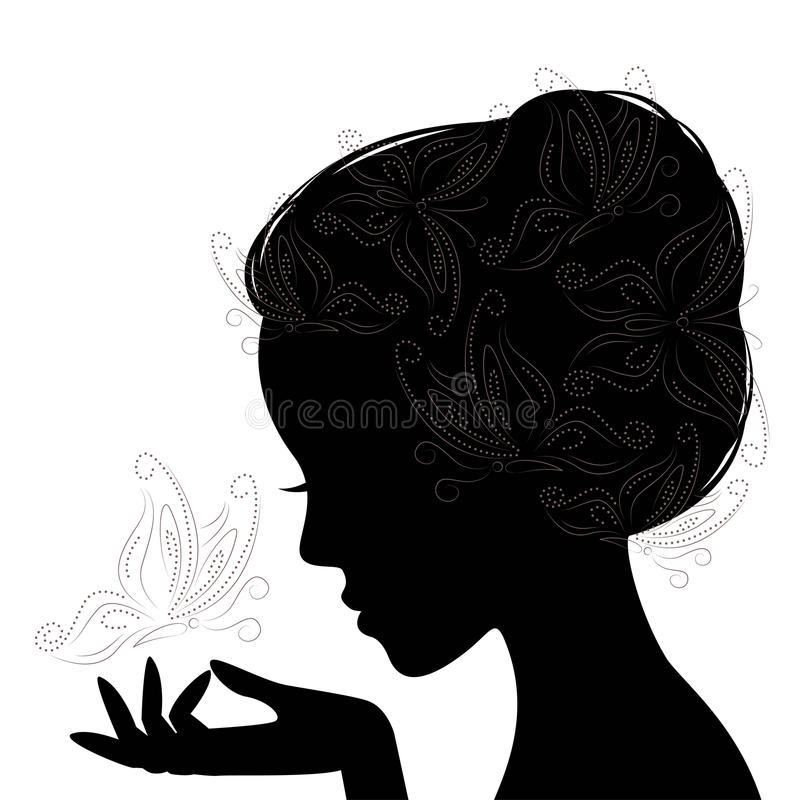 Profile face young woman . Silhouette . royalty free illustration