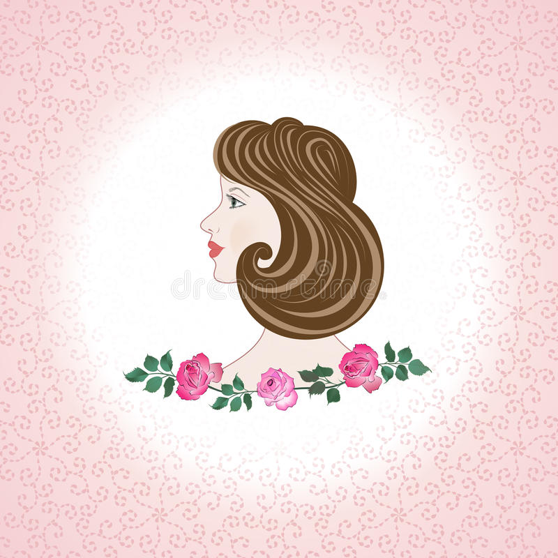 Download Profile  Feminine Face  With Roses Stock Vector - Illustration of feminine, pink: 29101946