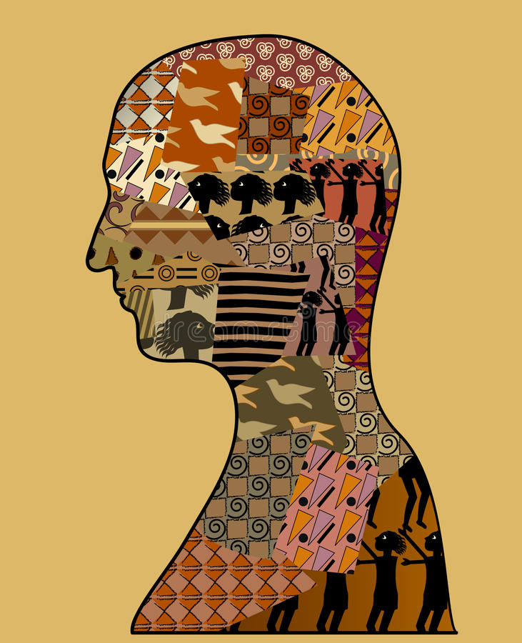 Profile filled with beautiful patterns. A profile of a person filled with ethnic style patterns stock illustration