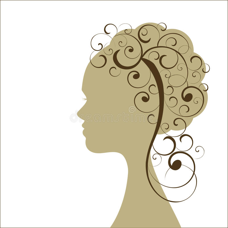 profile girl curly hair -individual coils vector illustration