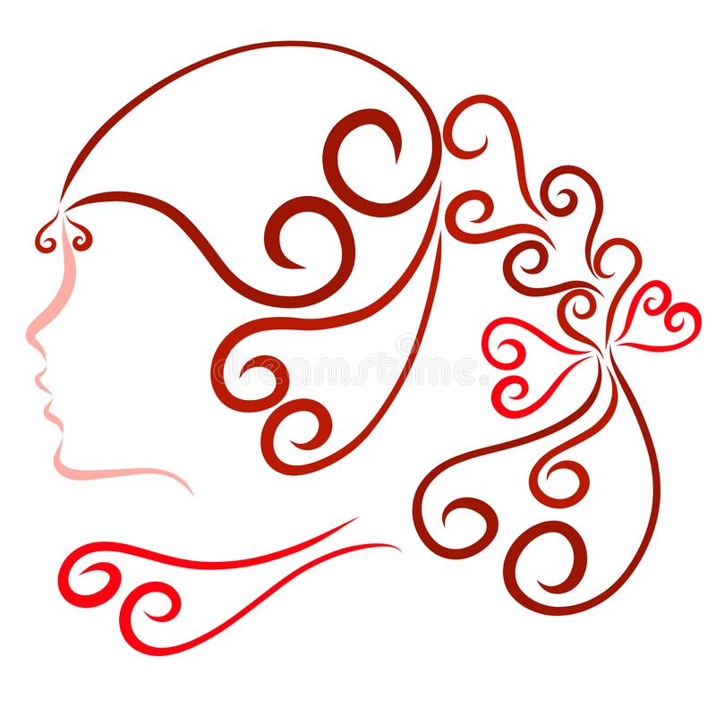 Profile of a girl with a festive beautiful hairdo, romance.  stock illustration