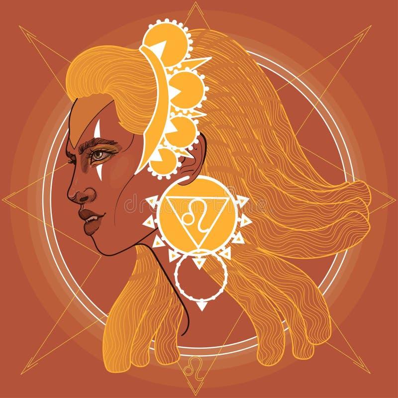 Free Profile Girl Lion Fangs Queen Goddess Zodiac Sign Horoscope Stock Image - 173256221
