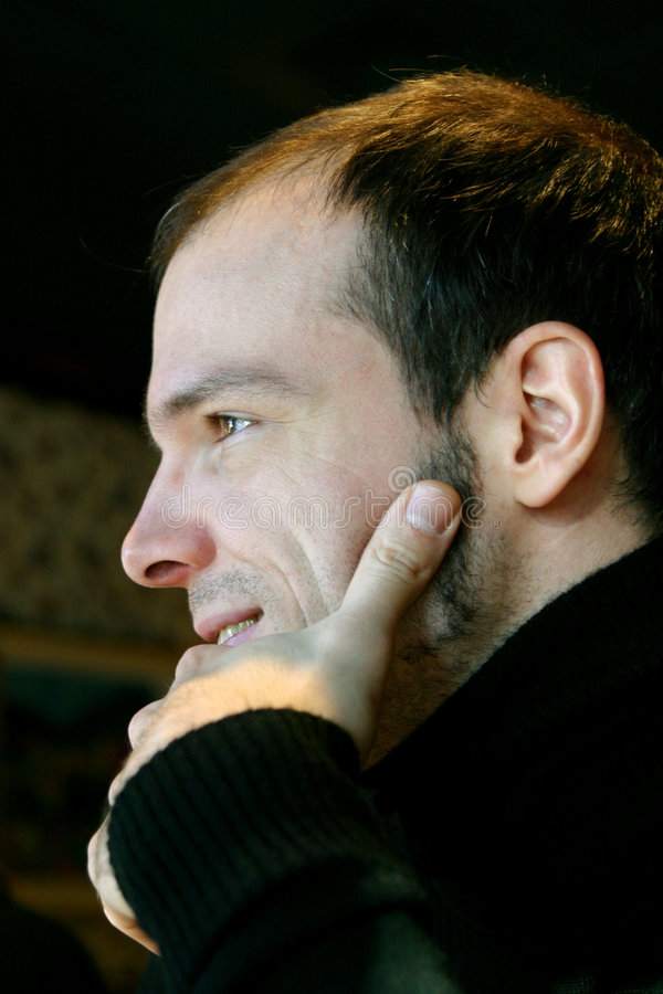 Profile of handsome man stock photo