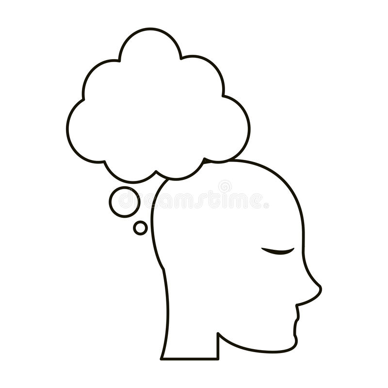 Profile head bubble thought outline. Vector illustration eps 10 royalty free illustration