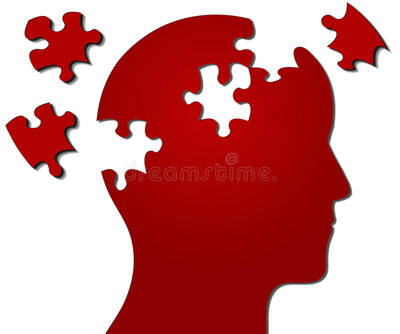 Profile of head with jigsaw pieces missing vector illustration