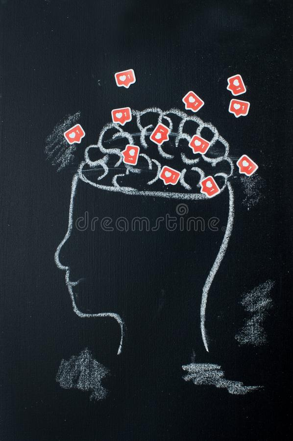Profile of head with open brains full of likes royalty free stock photo